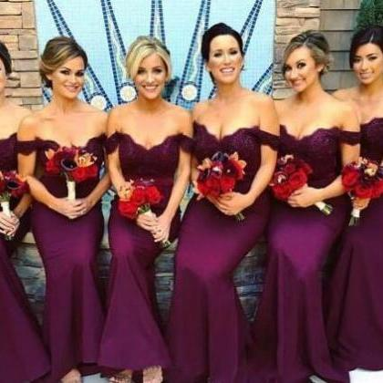 New Grape Bridesmaid Dresses 2018 M..