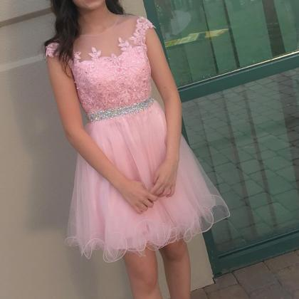 New Pink Short Prom Dress 2018 Cap ..