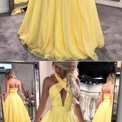 yellow prom dress,halter prom dress..