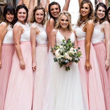 White Pink Bridesmaid Dresses, A-Li..