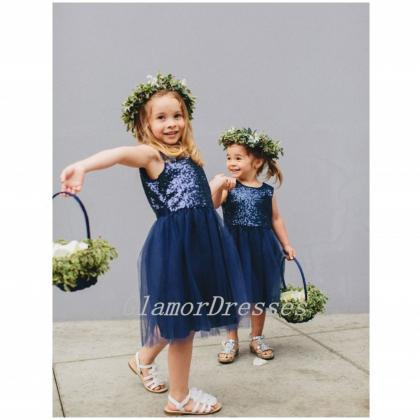 Flower Girl Dresses Navy Blue Sequi..