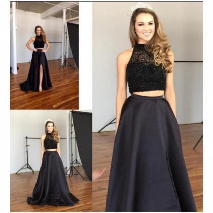 New Sexy Black Two Piece Prom Dress..