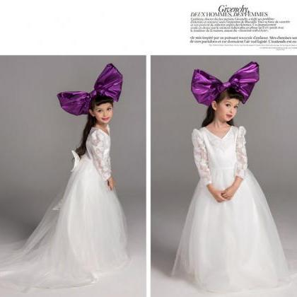 Flower girl dress,white flower girl..