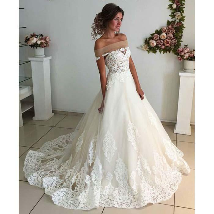 2018 Gorgeous White Off The Shoulder Wedding Gowns Lace Liques Ball Gown Bridal Dresses