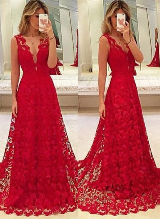 Custom Made Red Lace Prom Dress,V-Neck Party Dress,Sleeveless Party ...