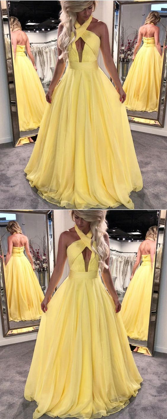 yellow prom dress,halter prom dress,elegant prom dress,chiffon evening dress,long formal dress,prom dresses 2018