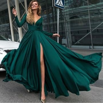 ca37e979337d New Style Sexy Elegant Deep V-Neck Prom Dresses,Long Sleeves Prom Dresses,