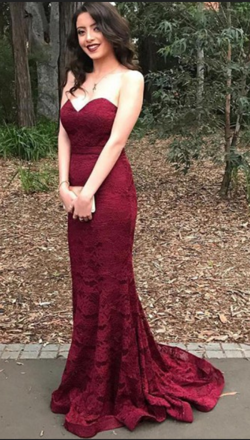 Prom Evening Dress,Stylish Sweetheart Mermaid Sweep Train Burgundy Lace Prom Dress,Elegant Prom Dress,Prom Gowns