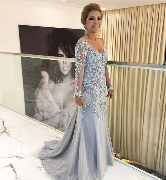 Mother Of The Bride Dress For Wedding Light Grey Long Sleeves Lace Liques Elegant Mermaid Dresses 2018 Formal