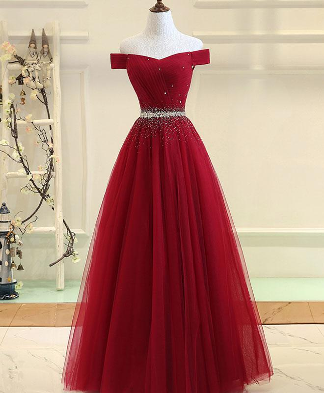 Custom Made Red Beaded Off-Shoulder Tulle A-Line Evening Dress, Prom Dresses, Wedding Gowns