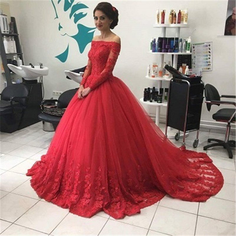 05ed6078e9fe Off The Shoulder Long Sleeve Red Prom Dresses