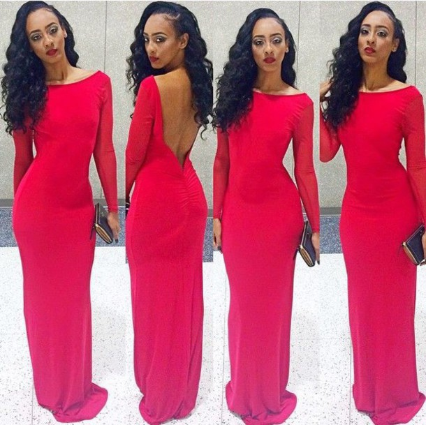2018 Sexy Red Prom Dresses Backless Satin Mermaid Long Sleeves Evening Dresses Formal Party Gowns