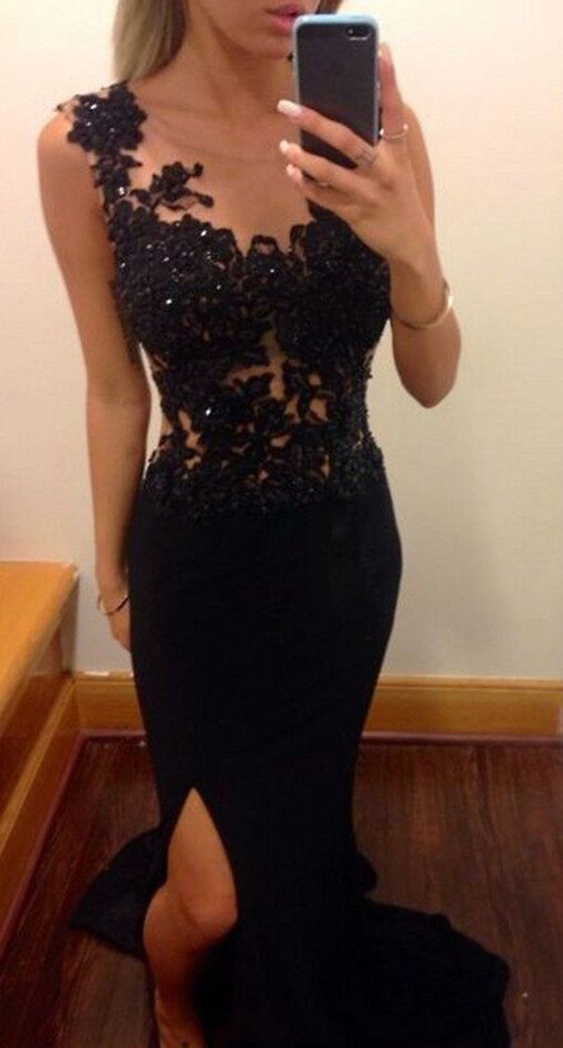 94b2be77235 Sexy Mermaid Long Black Lace Beading Top Slip Side Open Back Casual Affordable  Prom Dress