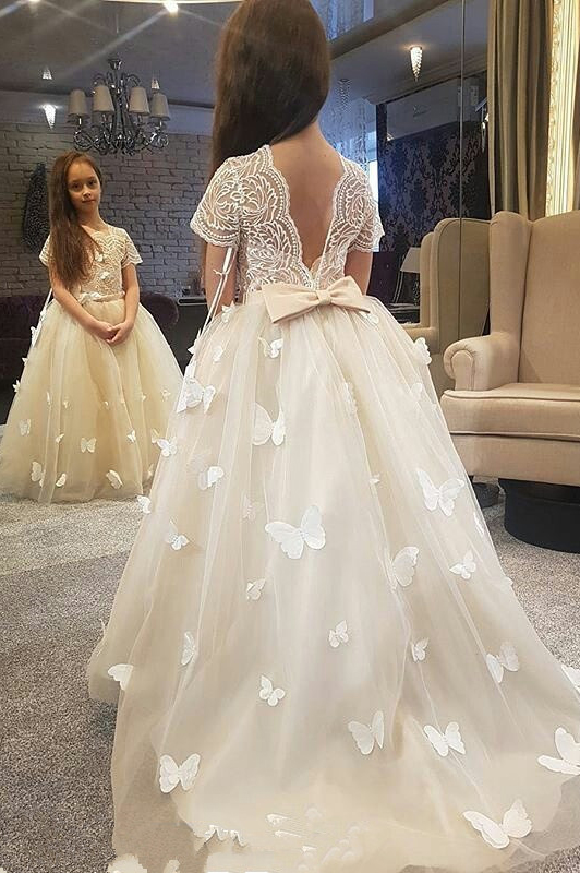 b3fb975274b75 Ivory Flower Girl Dresses, 2019 Lovey Long Ball Gown Flower Girl Dress With  Butterfly, White Girls First Communion Dress, Girls Prom Dance Party ...