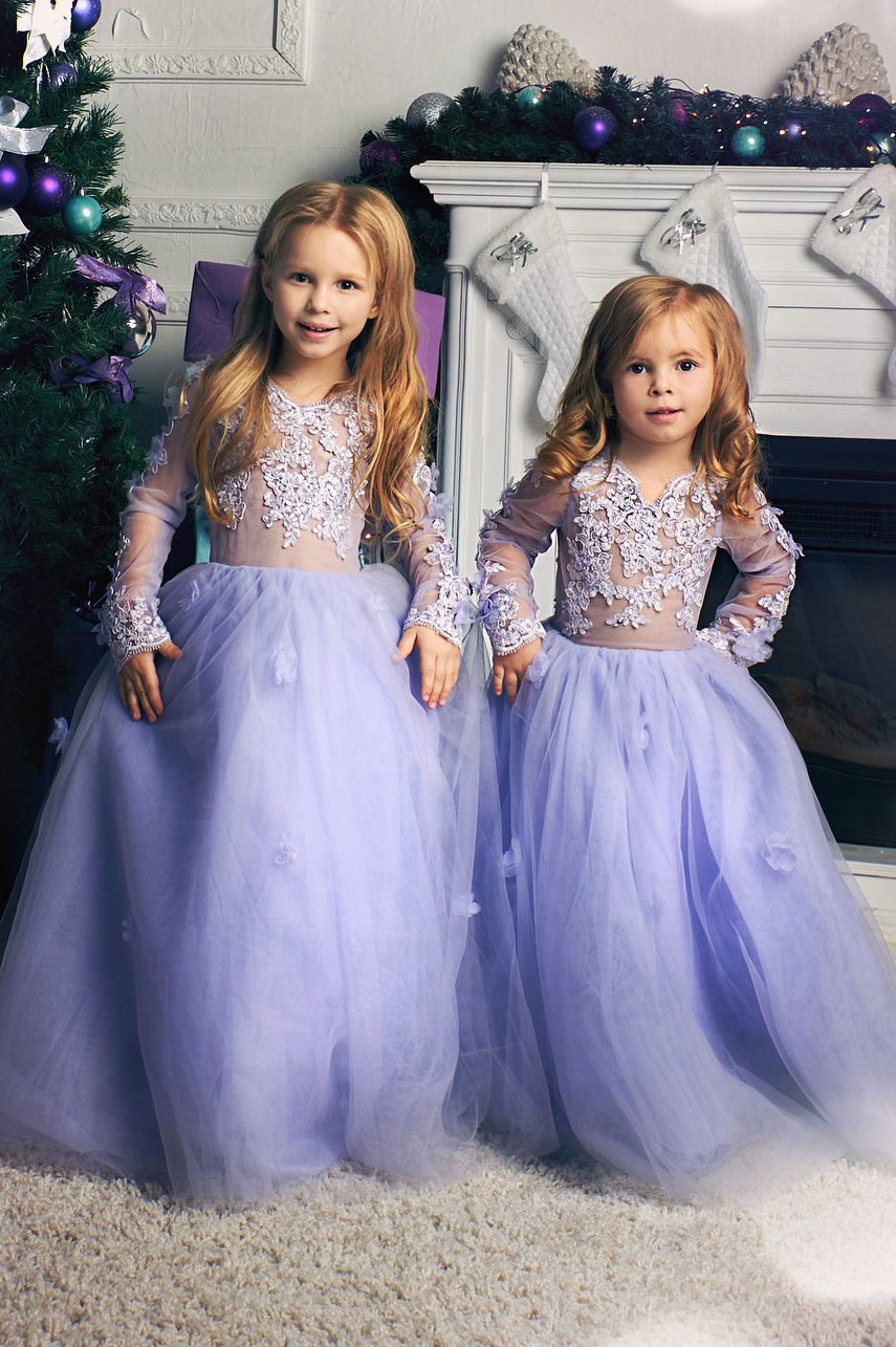 400b567933 Princess Long Sleeves Lavender Tulle Flower Girl Dresses, 2019 Lovey Long  Ball Gown Flower Girl Dress, White Girls First Communion Dress, Girls Prom  ...