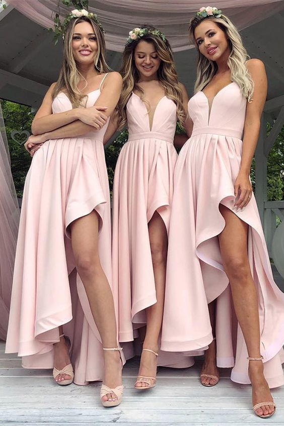 27241337b9 Sexy High Low Spaghetti Straps Satin Bridesmaid Dresses, Light Pink Beach  Maid of Honor Plus Size Long Wedding Guest Party Dress, Pink Prom Party  Gowns
