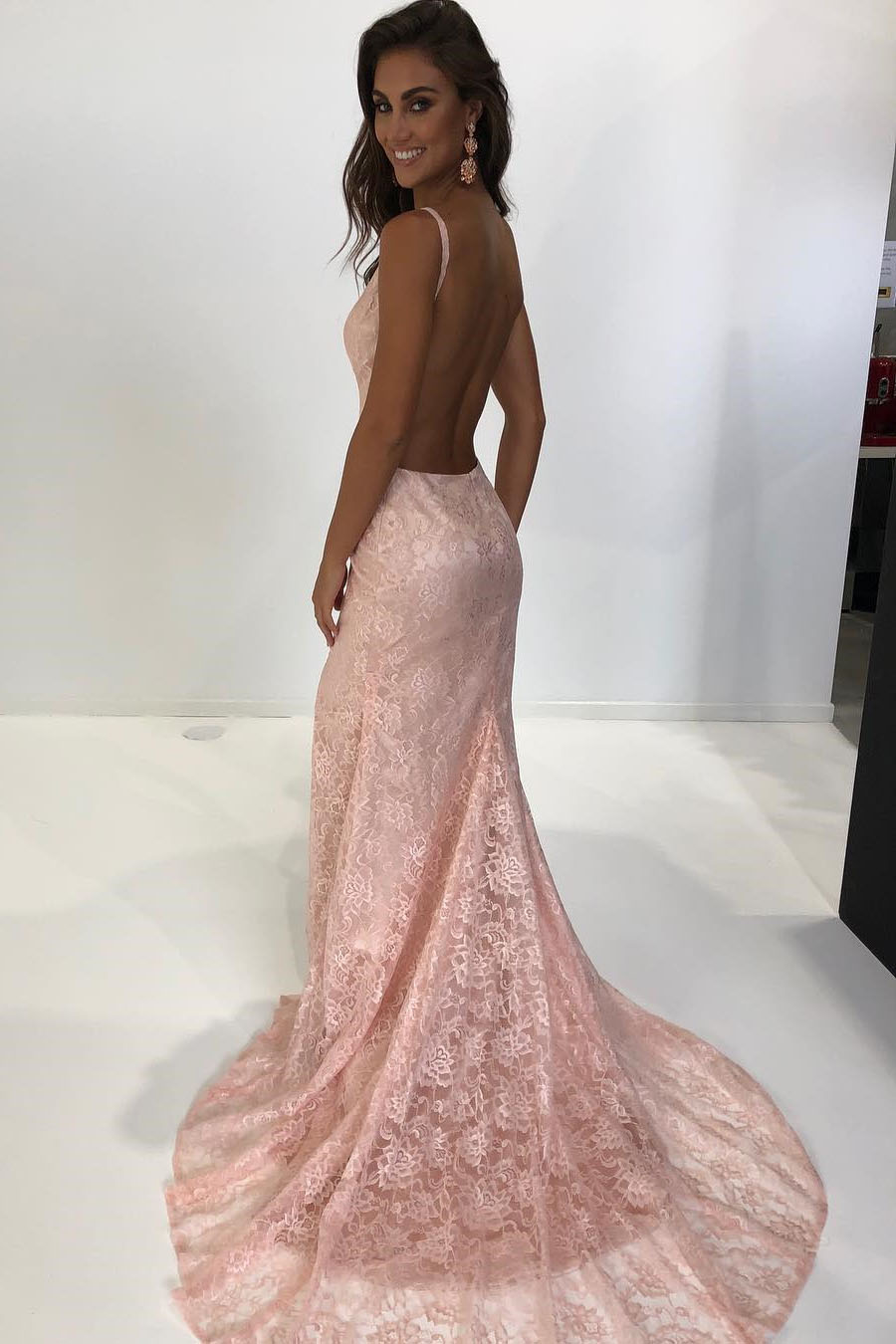 Pink Prom Dresses Lace Mermaid Elegant Straps Mermaid Pink Lace