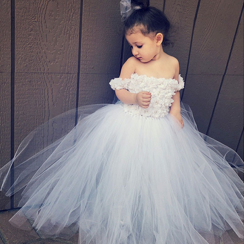 ea2fceafb4e Off the Shoulder White Flower Girl Dresses Petals Long Ball Gown Puffy Girls  Pageant Dress Kids First Communion Dress Wedding Party Gowns