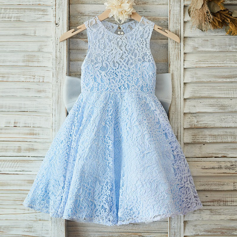 51e30c46fdc Adorable Blue Flower Girl Dresses Lace Appliques Toddler Infant Tea Length  Kids Birthday Christmas Dress Girls