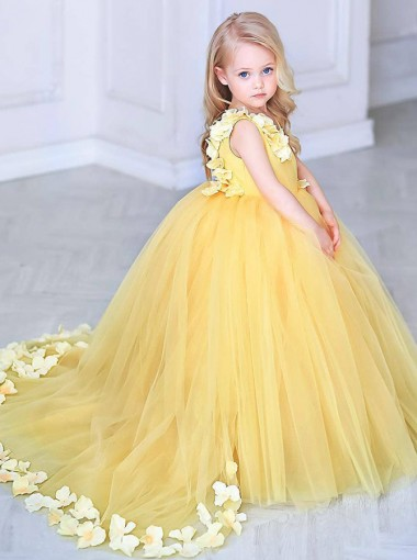 0752ca881b141 Yellow Girls Pageant Gowns Petals Ball Gown Flower Girl Dress Girls  Christmas Dress Girls Birthday Party