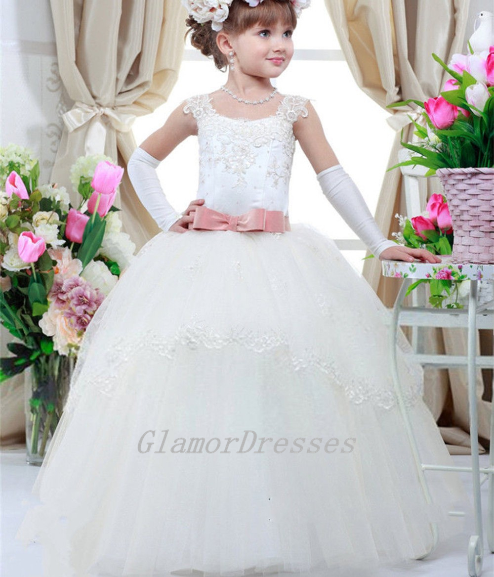 5930c334ddf45 2016 New Pretty Cute Scoop Ball Gown Flower Girl Dresses Cap Sleeves Girls  Pageant Dress Beads Lace Appliques Custom Made Girls Christmas Dresses with  Pink ...