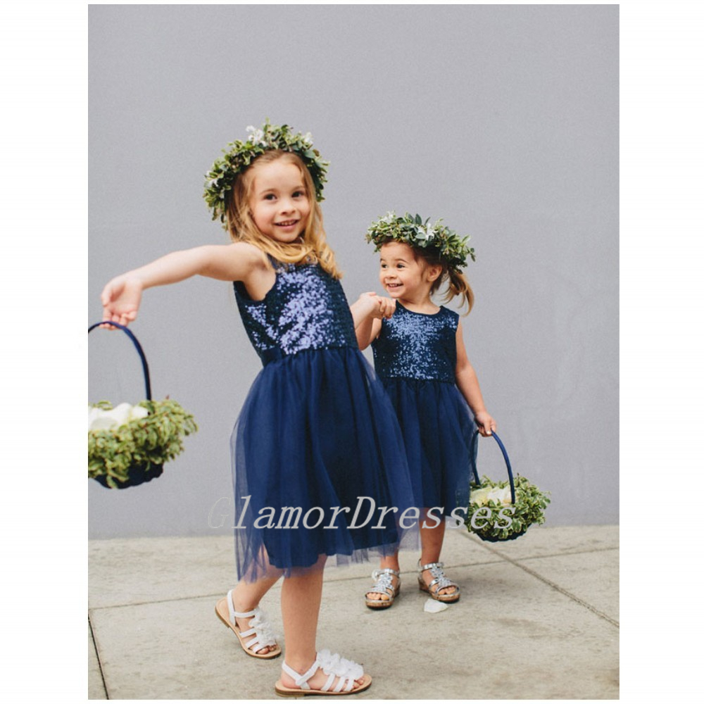 Flower Girl Dresses Navy Blue Sequin Tulle Short Jewel Sleeveless Tulle Blue Zipper Flower Girls' Gowns Best Selling Flower Girls Dress 2016 Girls First Communion Dresses vestido de daminha Girls Christmas Dress Girls Birthday Dress Wedding Party Dresses