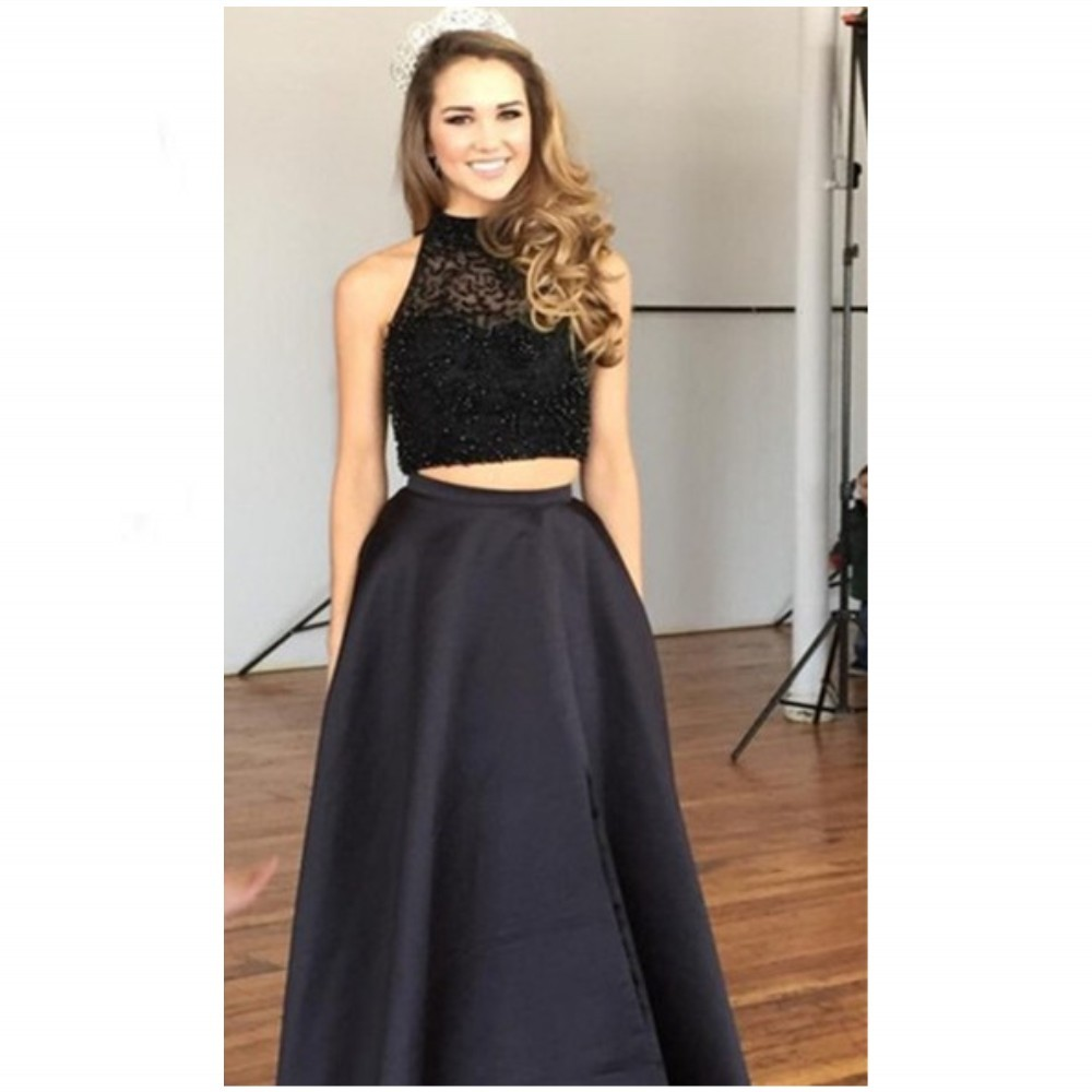New Sexy Black Two Piece Prom Dresses Jewel Beads Sleeveless Zipper Beading Front Split Sweep Train Satin Evening Dresses Black Homecoming Dress Formal Party Dance Dresses Vestido de Festa