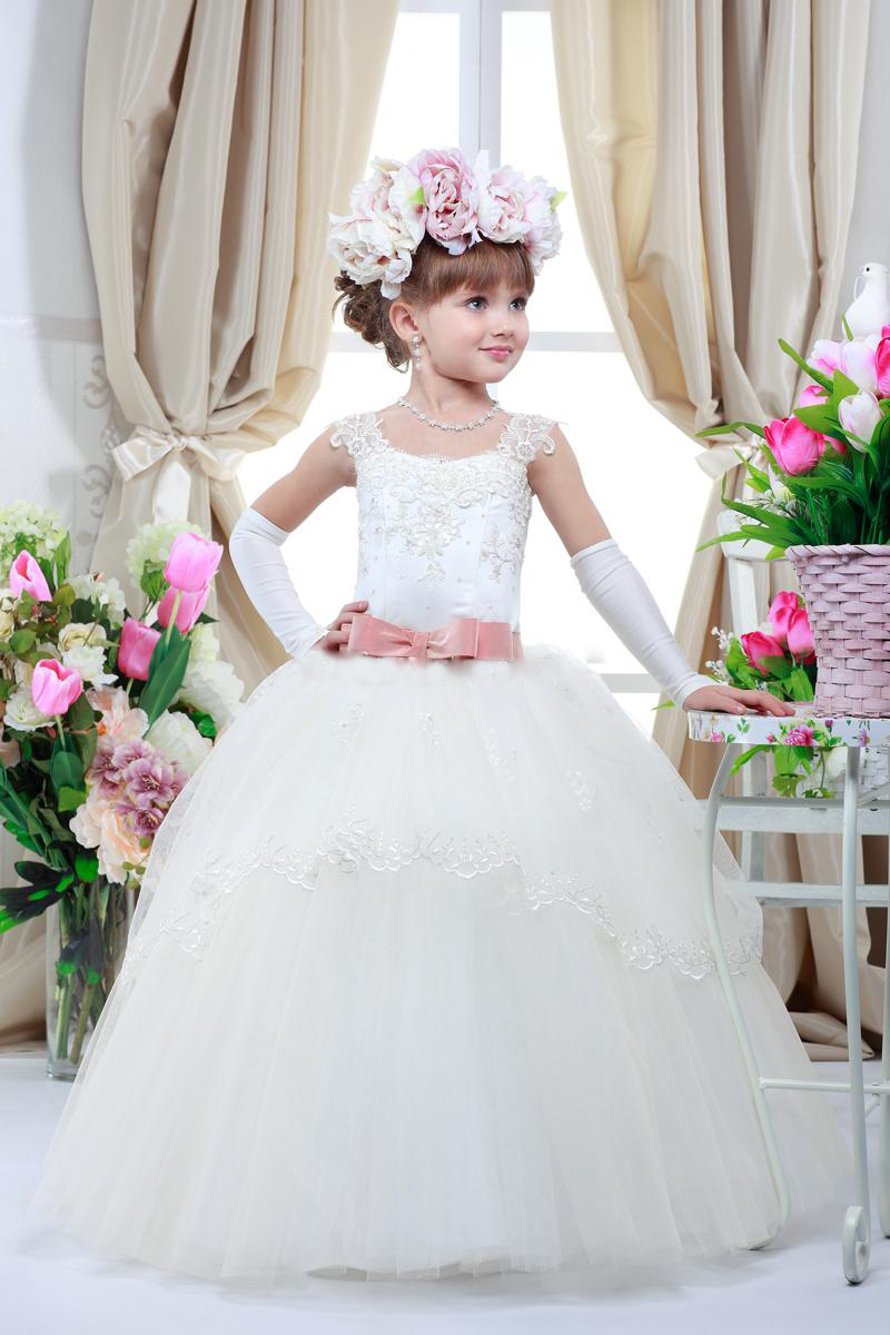 bde59bcf92 Princess Lace Appliques Tutu Ball Gown Flower Girl Dresses With Belt Girls  First Communion Dresses Girls Pageant Dresses Custom Made