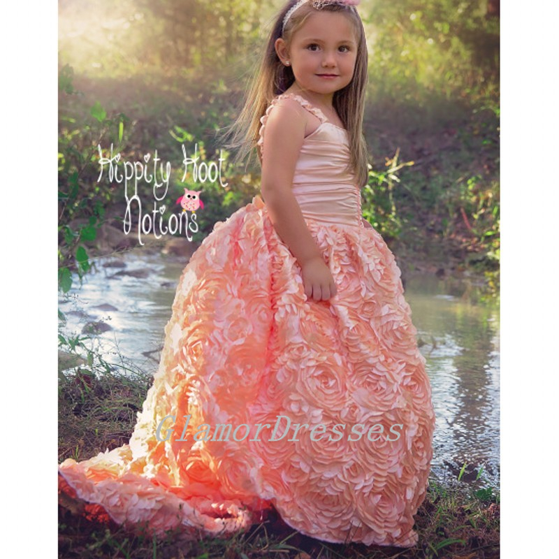 d73a7214bdb4 New Arrival Princess Coral Pink Rosette Flowers Flower Girl Dresses Girls  First Communion Satin Rustic Girls Birthday Party Dress Girls Pageant  Dresses