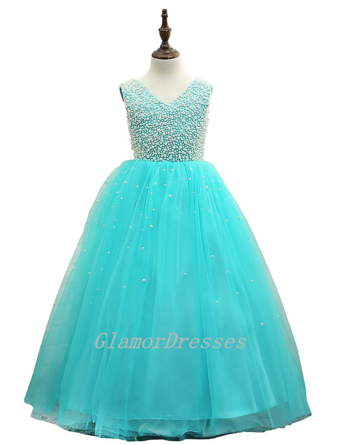 Princess Real Sparkling Beige Beads Turquoise Tulle Flower ... - photo#40