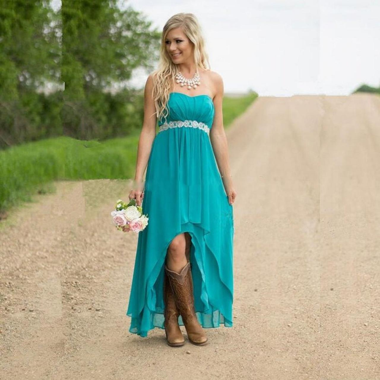 Turquoise Bridesmaid Dress,High Low Bridesmaid Dresses, Bridesmaid ...