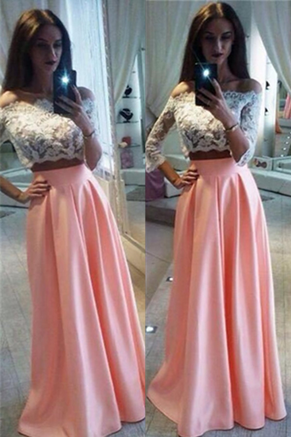 Two Piece Prom Dress,pink Prom Dress Plus Size,prom Dress With ...