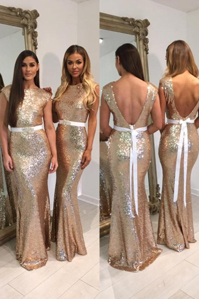 Bridesmaid Dresses 2018 Gold Sequins Mermaid Dress Wedding Party Plus Size