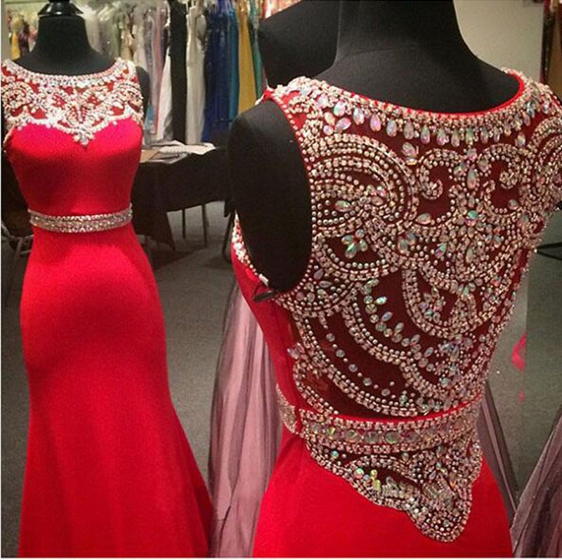 Prom Dresses,Red Prom Dresses 2017,Shining Beads Crystals Prom Dresses,Chiffon Prom Dress,Fitted Prom Dress,Women's Pageant Dress,Prom Dance Dress,Mermaid Prom Dresses