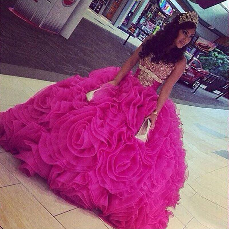 45a587fee9 Quinceanera Dresses 2017 Hot Pink Sweet 16 Dresses Princess Sweetheart  Beaded Crystal Debutante Princesa 15 Anos Vestidos De Ball Gown Prom Dresses