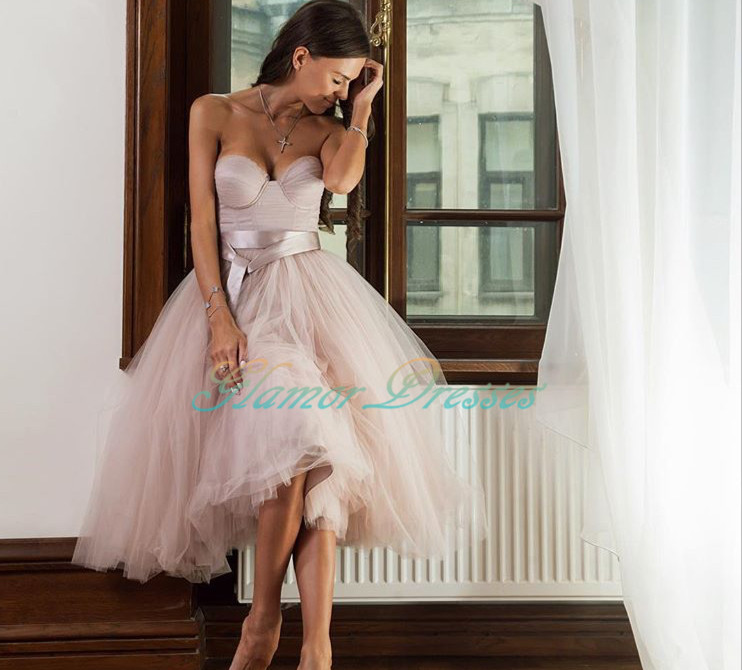 Sweetheart Tulle Homecoming Dress, Tea Length Ball Gown Party Dress, Cocktail Dress,Prom Dress,High Quality Prom Dress