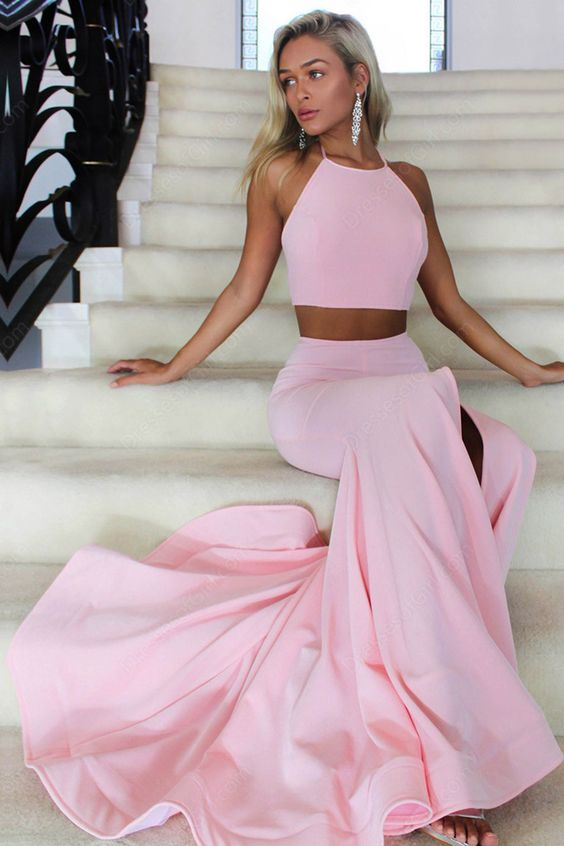 Pink Two Pieces Simple Slim Long Mermaid Prom Dresses, Halter Prom ...
