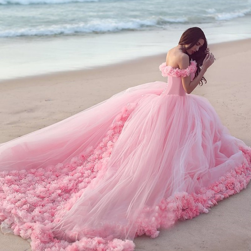 Romantic Pink Long Train Pregnant Photography Wedding Dress Bridal Gown  Ruffles Wedding Dresses Plus Size Photo Dress 2017 Wedding Dresses