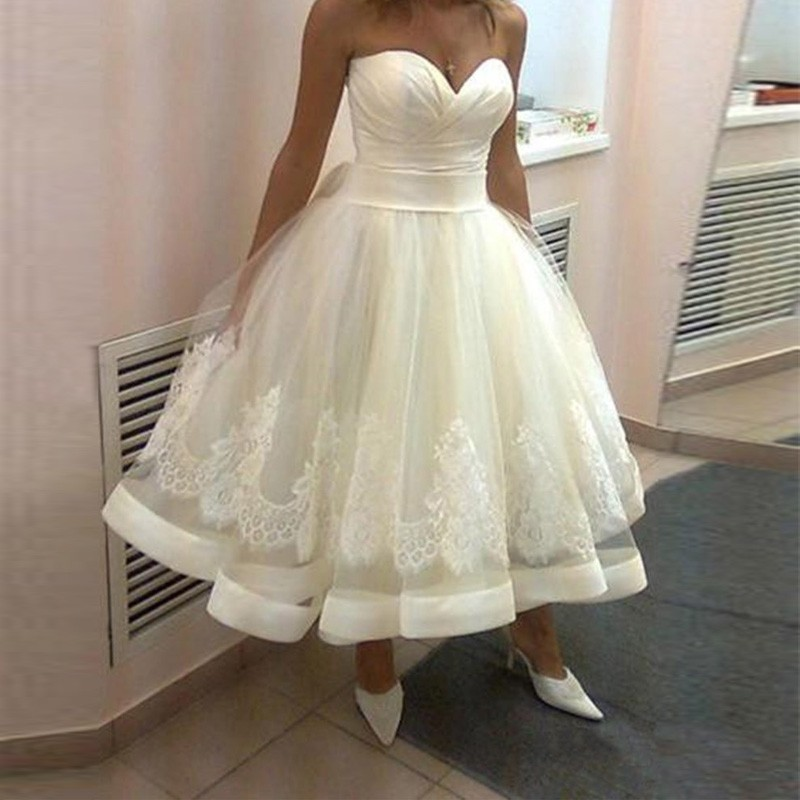 Beach Wedding Dresses Beach Tea Length Wedding Dresses Sweetheart A