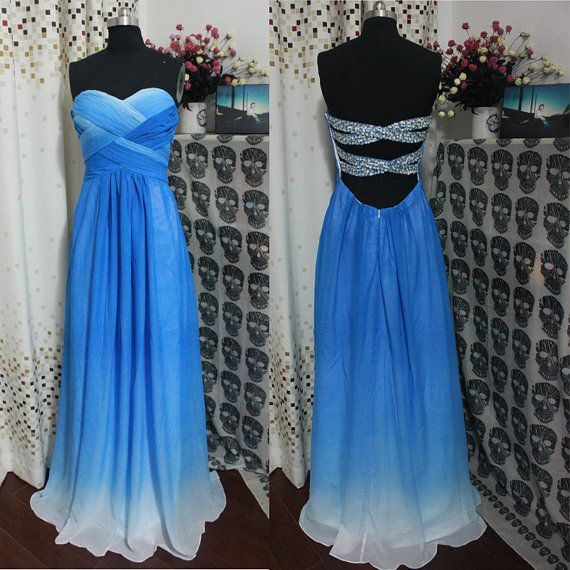 Backless Bridesmaid Gown Blue Prom Dress Chiffon Prom Gown Ombre Bridesmaid Dress Cheap Evening Dresses Royal Blue Bridesmaid Dresses Sweetheart