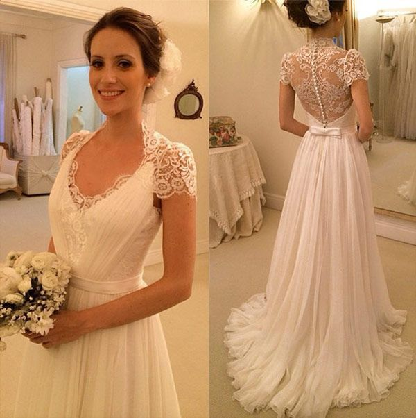 e4db96cdfcf Lace Plunge V Cap Sleeves Floor Length A-Line Wedding Dress Featuring  Illusion Open Back and Sweep Train