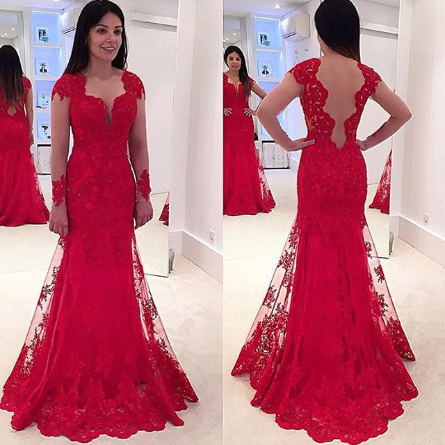 Lace Prom Gowns,Elegant Evening Dress,Modest Evening Gowns,Red Prom ...