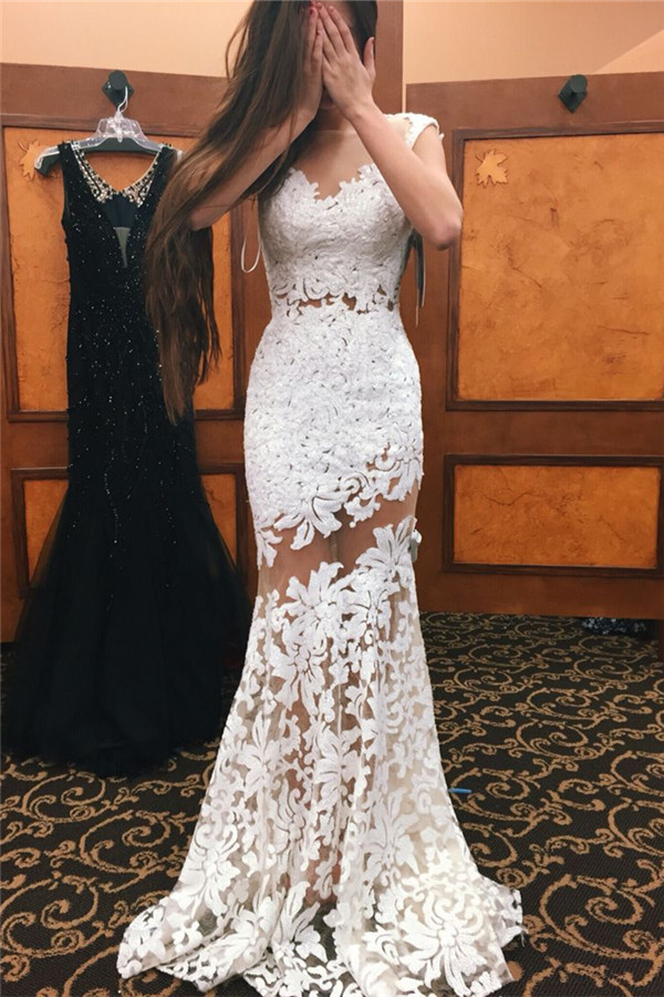 Prom Dresses,Prom Dress,white Sleeveless Mermaid Lace Evening Dresses Long Illusion Sheer Tulle Prom Dress 2017
