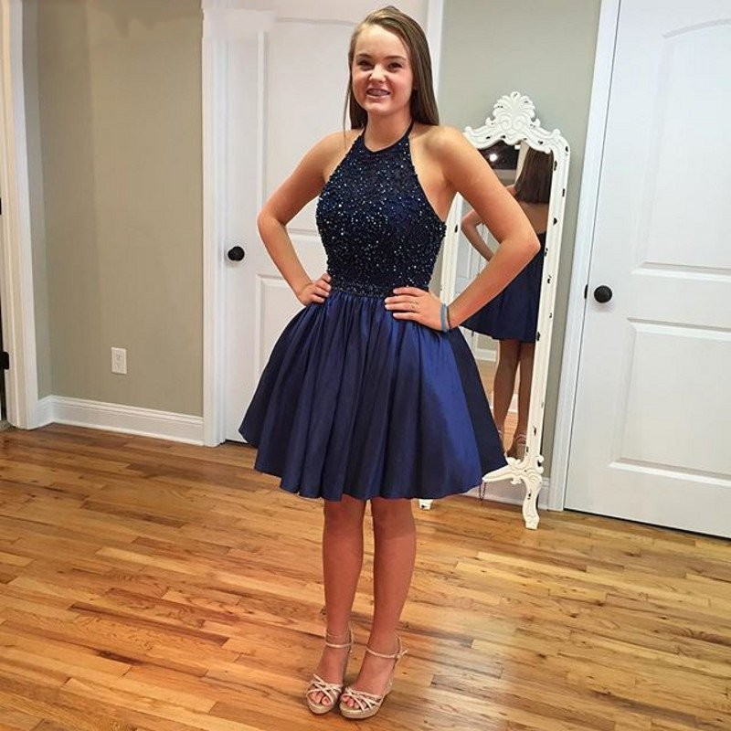 Hot Short Navy Blue Beads Prom Dresses Homecoming Dressshort