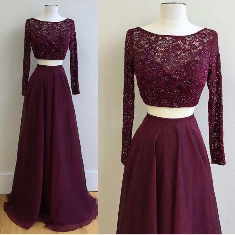 7dee3cd7dd84 Burgundy Two Piece Lace Chiffon Long Sleeves Prom Dress, Lace Prom Dresses,  A Line Prom Dress,Sexy Formal Party Dress, New Style Evening Dress, Long  Sleeves ...