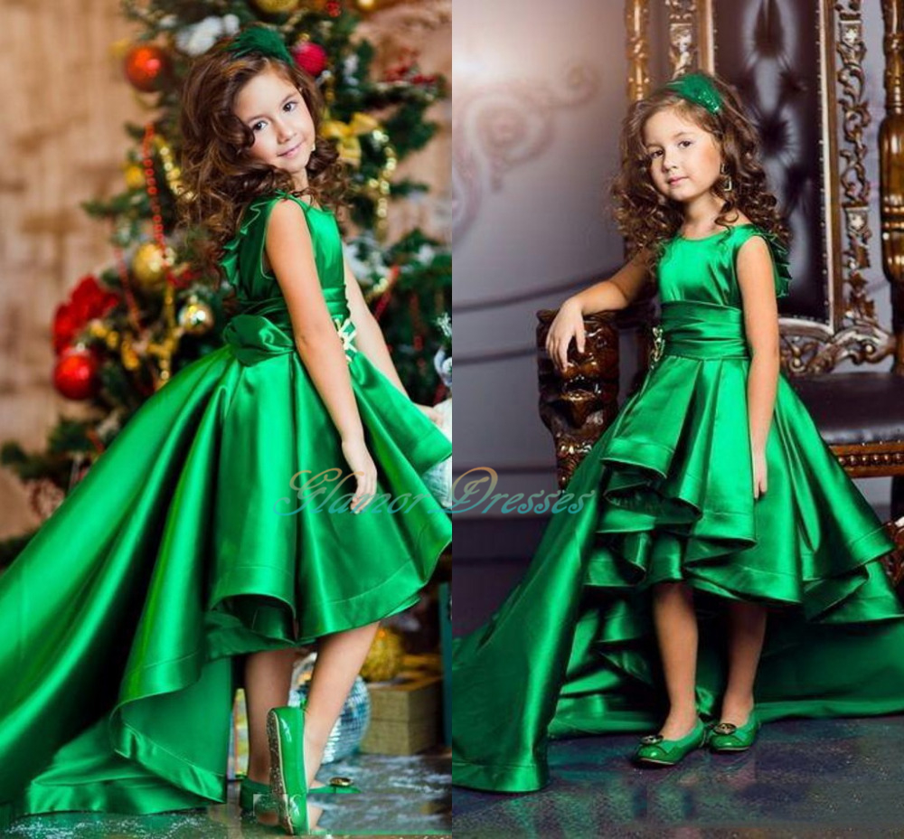 Emerald Green Girls Pageant Dresses High Low Princess Flower Girls ...