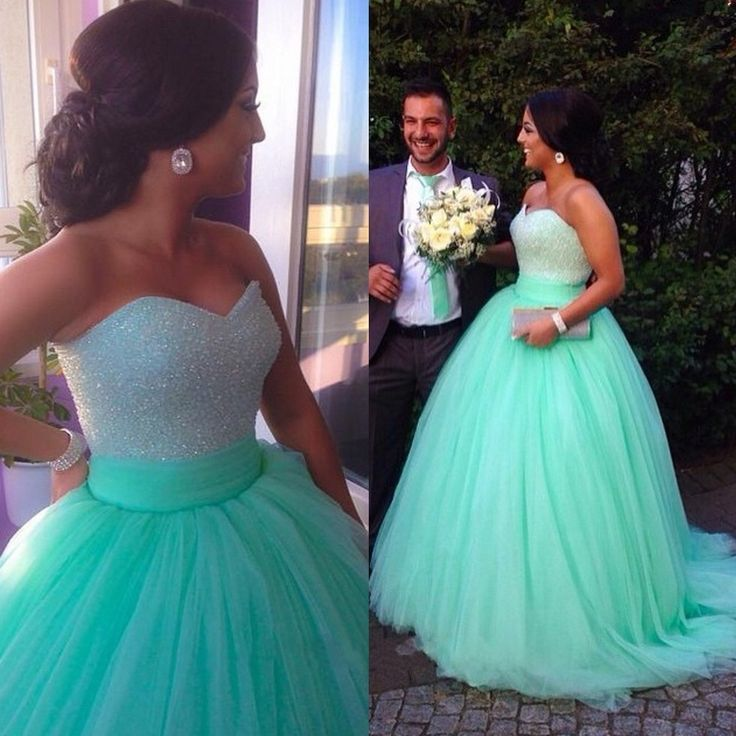 Hot Mint Sweetheart Neck Beaded Embellished Lace Up Back Ball Gown