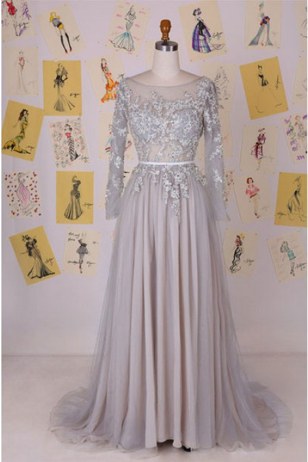 Prom Dresses,2017 Prom Dress,Chiffon Prom Dress,Aline Prom Dresses,2017 Formal Gown,Long Sleeves Evening Gowns,Beading prom dress
