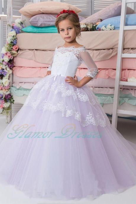 Flower girl dress, white purple flower girl dress, flower girl dresses, ball gown flower girl dress, girls first communion dress, junior bridesmaid dress,girls wedding party dress