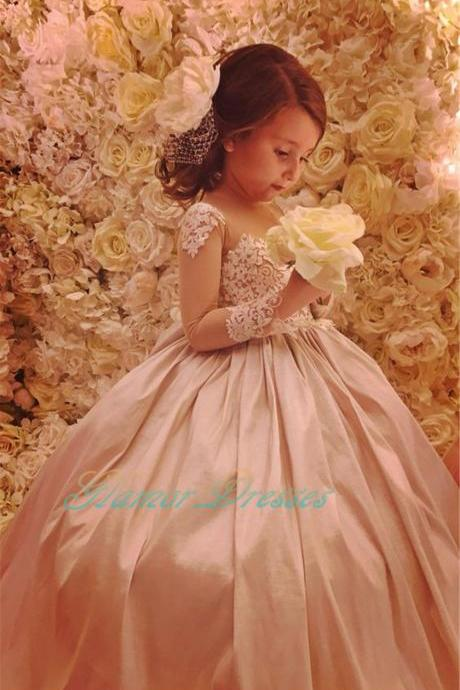 2017 Princess Puffy Rose Pink Floor Length Ball Gown Flower Girl Dresses with Train Long Sleeves Girls Formal Party Dresses for Weddings Kids Prom Evening Dance Dresses